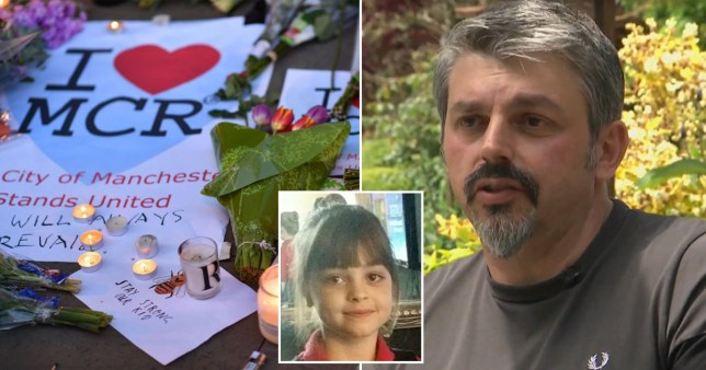 Andrew Roussos, dad of youngest Manchester Arena bombing victim Saffie-Rose, 8, and a tribute to victims of the terror attack