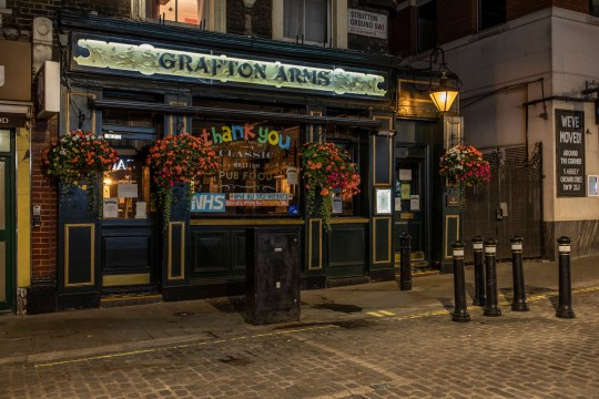 LONDON, ENGLAND - SEPTEMBER 21: The Grafton Arms in Westminster remains closed on September 21, 2020 in London, England. Many pubs and bars in London have yet to reopen following the initial lockdown that shut their doors between late March and early July. A report from CGA and AlixPartners showed that, as of the end of August, around 28% of licensed premises in Central London had yet to reopen. For the ones that have reopened, social distancing requirements meant to curb the spread of Covid-19 have also sharply curbed revenues of a business model that relies on packing in patrons. As coronavirus infection rates start to rise, the British government is introducing a 10pm curfew for pubs, bars and restaurants, which is sure to make hard times harder for the city's watering holes. (Photo by Dan Kitwood/Getty Images)