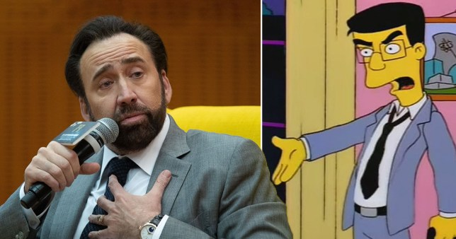 Nicholas Cage and Frank Grimes from The Simpsons