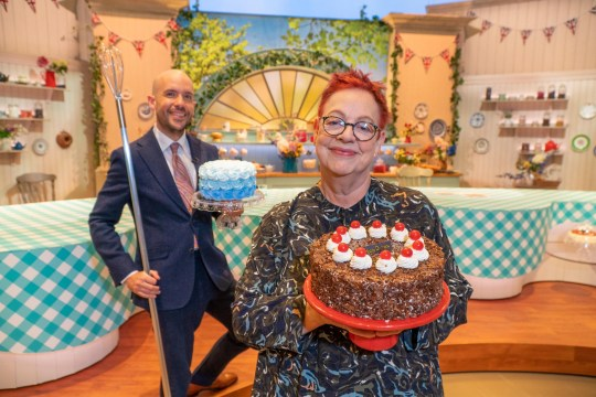 Tom Allen and Jo Brand presenting Bake Off: Extra Slice