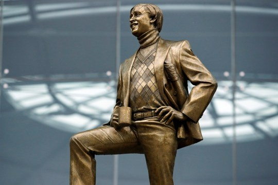 A statue of actor Steve Coogan's fictional character Alan Partridge is seen outside the Forum in Norwich, Norfolk, Britain September 25, 2020. REUTERS/Andrew Couldridge