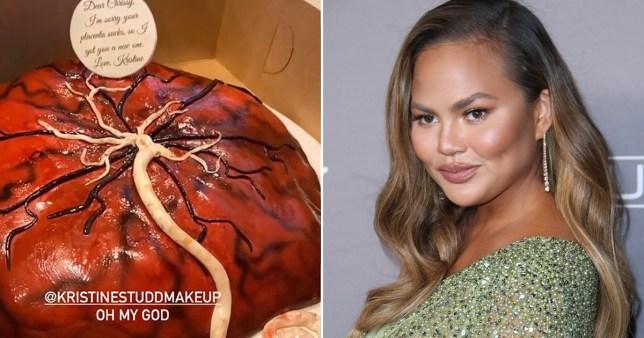 Chrissy Teigen pictured alongside placenta cake she was sent