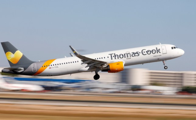 A Thomas Cook plane takes off
