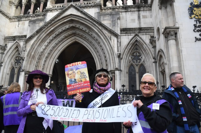 Campaigners outside the Royal Courts of Justice in London, where a ruling is expected on a case brought by campaigners who argue changes to the state pension age have unlawfully discriminated against women born in the 1950s. PA Photo. Picture date: Thursday October 3, 2019. See PA story COURTS Pensions. Photo credit should read: Kirsty O'Connor/PA Wire