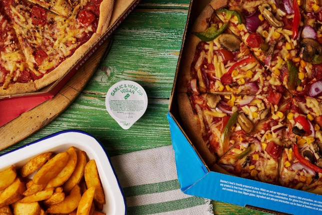 Domino's Vegan pizza and garlic and herb dip