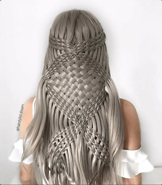 Complicated hair braids on silver hair