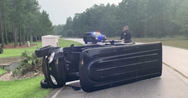 Overturned golf cart