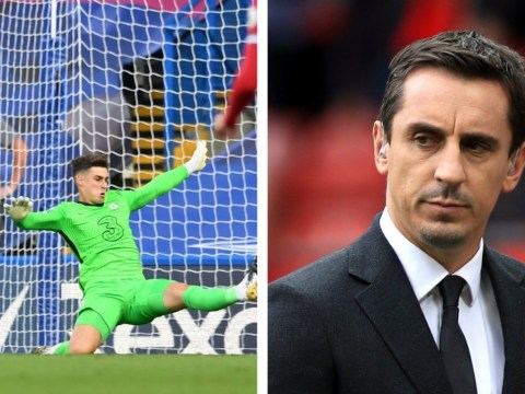 Gary Neville reacts to Kepa Arrizabalaga's latest mistake for Chelsea in Liverpool defeat