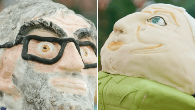 Louis Theroux and David Attenborough made out of cake