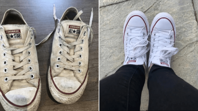 before and after pictures of white converse