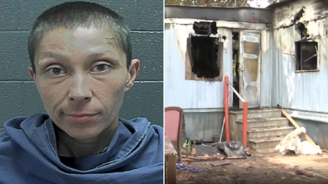 Elizabeth Aleman and her burnt-out home