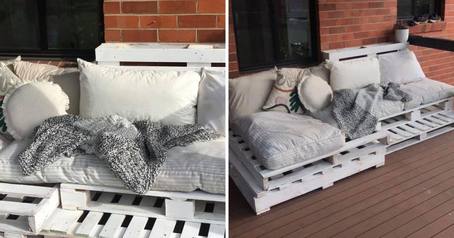 Outdoor sofa made from dog bed