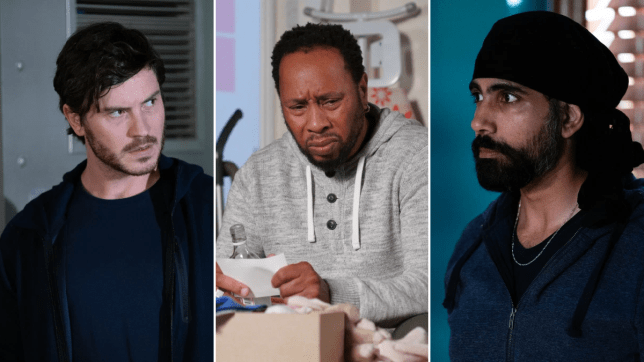 Gray, Mitch and Kheerat in EastEnders