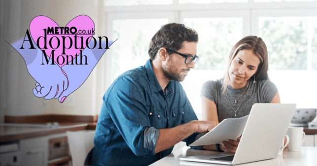a couple looking at a computer