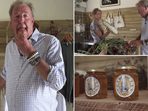 Jeremy Clarkson shows off his massive marrow and licks his plums in Grand Tour of Diddly Squat farm shop