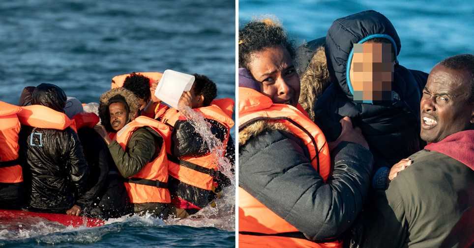 Composition of migrants throwing water out of a boat and parents holding a child up