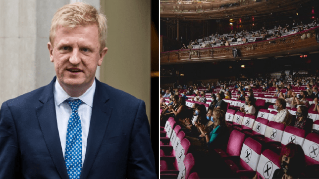 Oliver Dowden and a socially distanced theatre