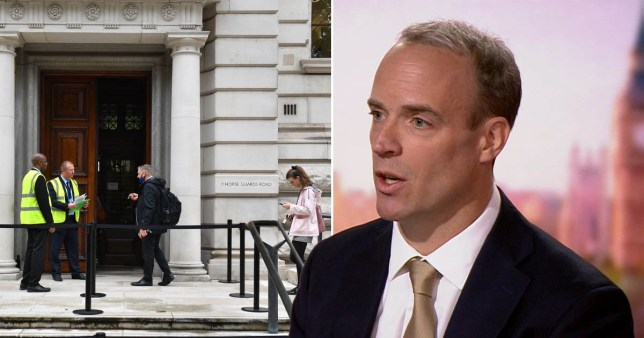 Picture of Dominic Raab and civil servants working