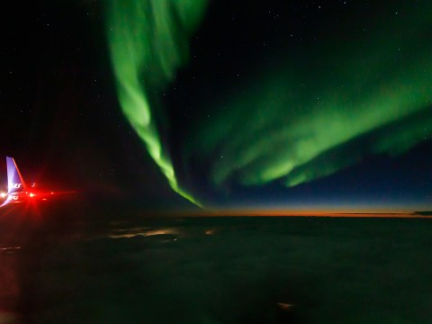 I photographed the Northern Lights from a plane window