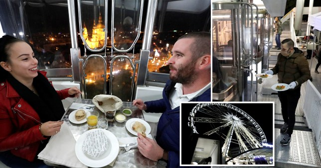 people eating dinner on Ferris wheel