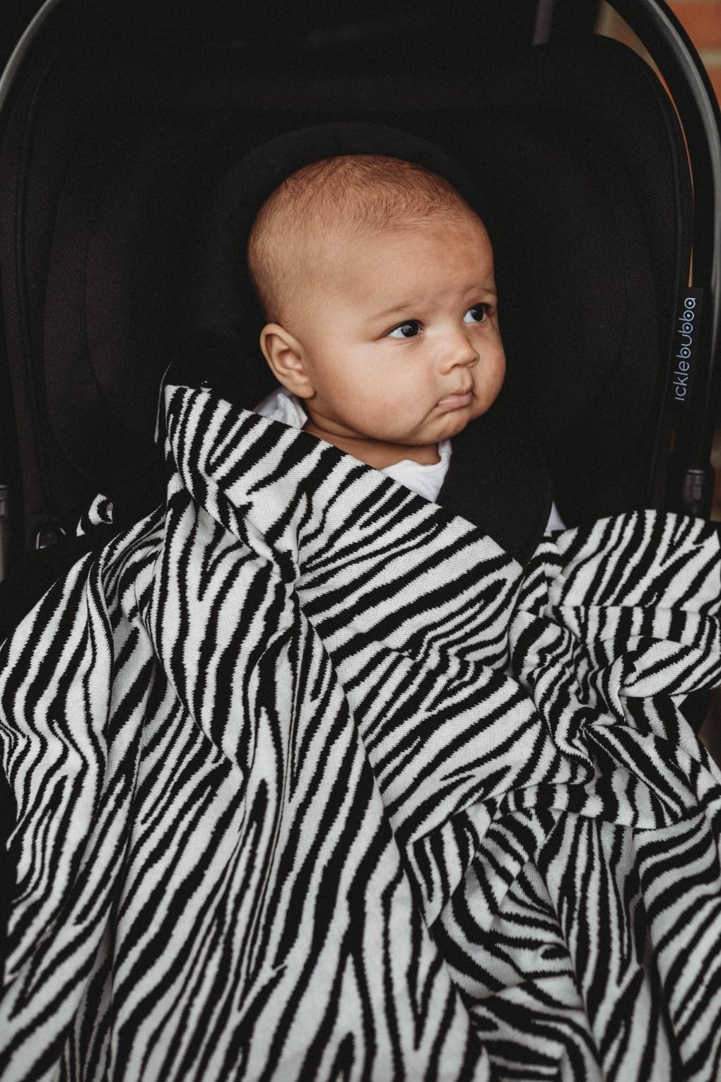 Etta Loves Zebra Knitted Blanket