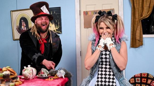 WWE superstars Bray Wyatt and Alexa Bliss in the Firefly Funhouse