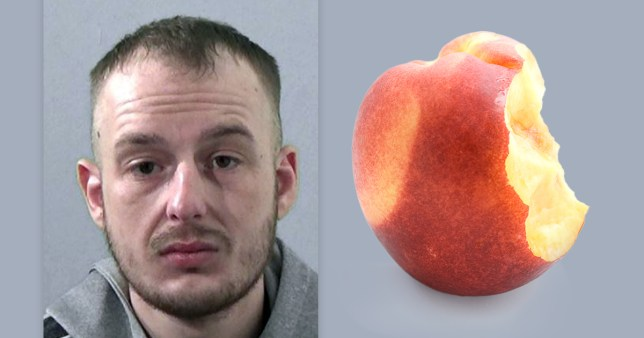 Burglar Arran Burton, from Ashington, Northumberland, who was caught after leaving a half-eaten peach at the scene of the crime in October 2019