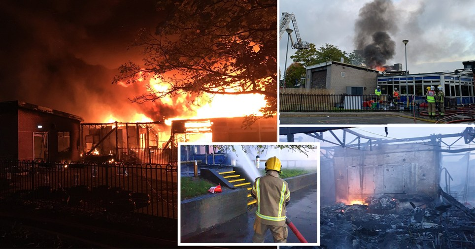 Picture shows fire at schools in Derbyshire
