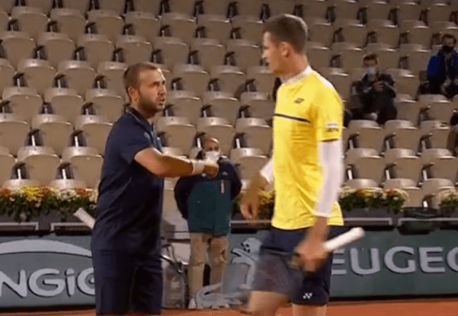 Dan Evans was involved in a heated row during his French Open first round doubles clash