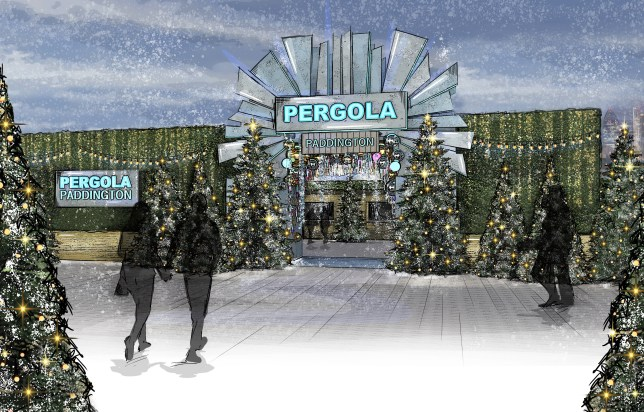 A mock-up of the Pergola from outside