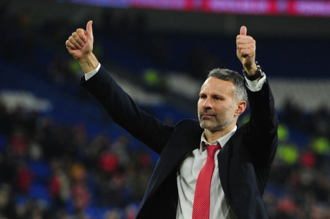 Ryan Giggs Manager of Wales celebrates at full time during the UEFA Euro 2020 Group E Qualifier match between Wales and Hungary at the Cardiff City Stadium on November 19, 2019 in Cardiff, Wales.