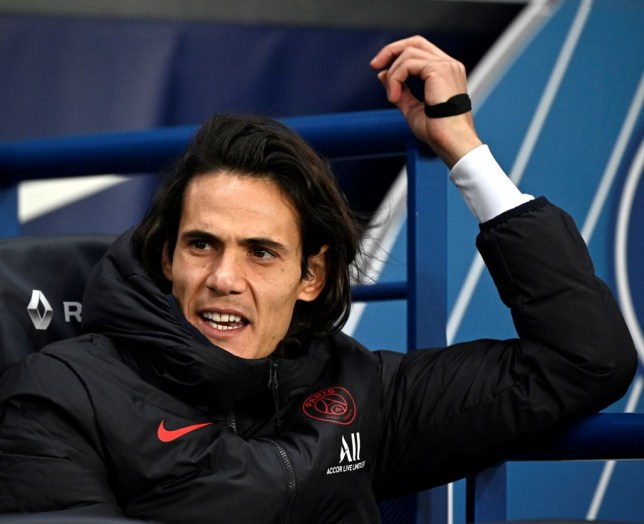 Manchester United transfer target Edinson Cavani looks on during PSG's clash with Lille