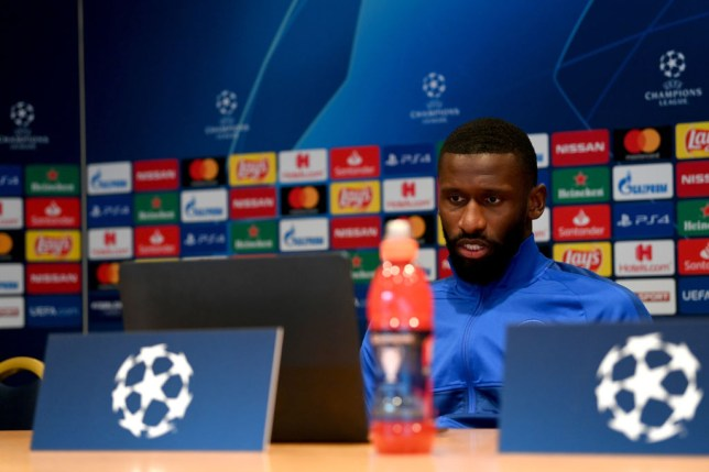 Antonio Rudiger of Chelsea attends a virtual press conference on the eve of their UEFA Champions League round of 16 second leg match against Bayern Munich at Hilton Hotel on August 7, 2020 in Munich, Bavaria, Germany.