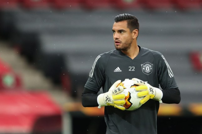 Sergio Romero of Manchester United warms up ahead of the UEFA Europa League Semi Final between Sevilla and Manchester United at RheinEnergieStadion on August 16, 2020 in Cologne, Germany.