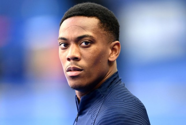 France's forward Anthony Martial looks on during a training session at the Stade de France in Saint-Denis, outside Paris, on September 7, 2020, on the eve of the UEFA Nations League Group 3 football match against Croatia.