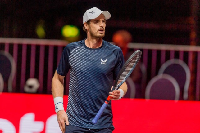 Andy Murray of Great Britain looks on during a match against Fernando Verdasco on the second day of the Bett1Hulks Indoor tennis tournament at Lanxess Arena on October 13, 2020 in Cologne, Germany.