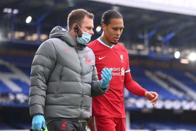Virgil van Dijk suffered a worrying injury during Liverpool's draw with rivals Everton