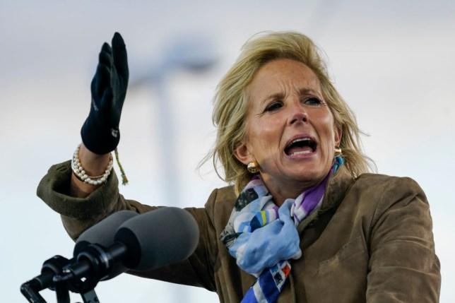 Jill Biden giving a speech