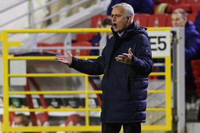 Jose Mourinho screams during Tottenham's Europa League clash with Royal Antwerp