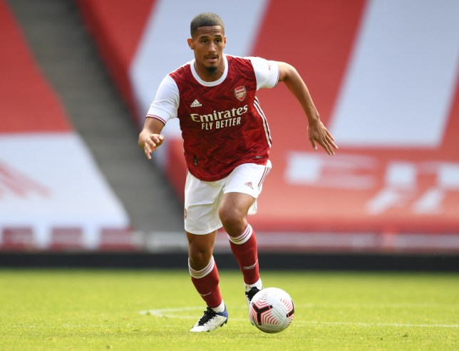 William Saliba of Arsenal during a pre season friendly between Arsenal and Aston Villa at Emirates Stadium on September 05, 2020 in London, England.