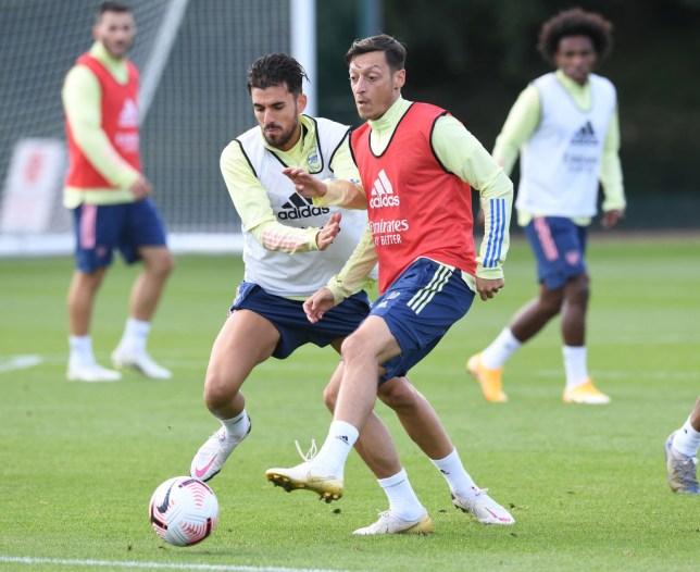 Mesut Ozil and Dani Ceballos in Arenal training