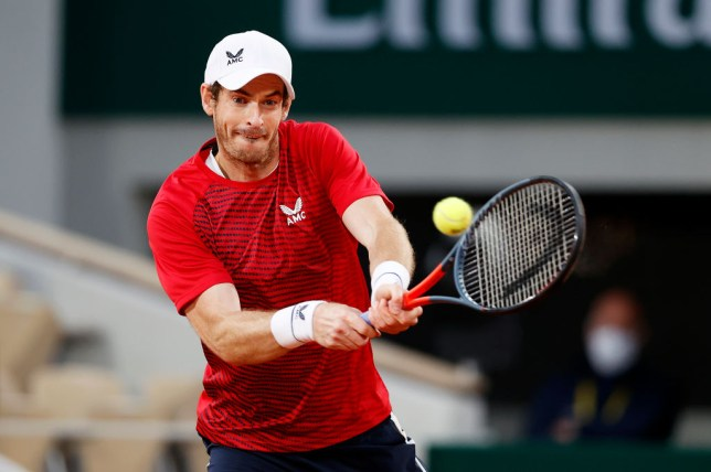 Andy Murray of Great Britain plays a backhand during his Men's Singles first round match against Stan Wawrinka of Switzerland during day one of the 2020 French Open at Roland Garros on September 27, 2020 in Paris, France.