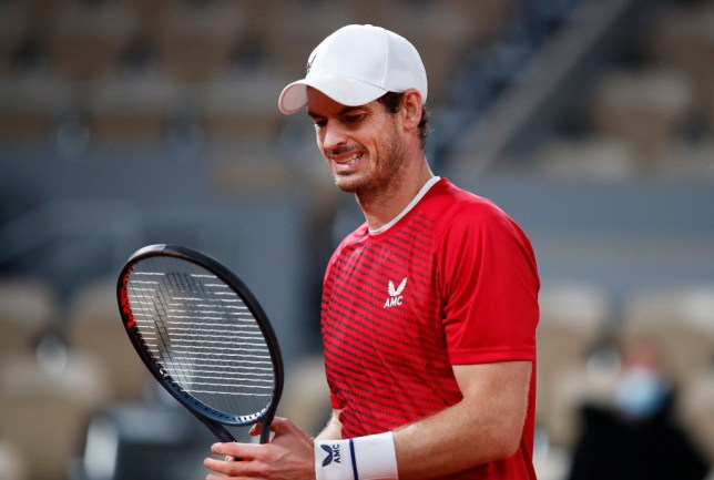 Andy Murray of Great Britain reacts during his Men's Singles first round match against Stan Wawrinka of Switzerland during day one of the 2020 French Open at Roland Garros on September 27, 2020 in Paris, France.