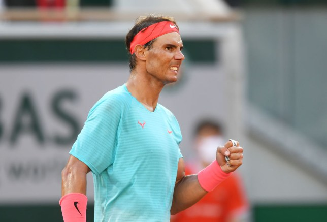 Rafael Nadal of Spain celebrates after winning a point during his Men's Singles semifinals match against Diego Schwartzman of Argentina on day thirteen of the 2020 French Open at Roland Garros on October 09, 2020 in Paris, France.