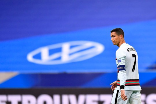 Cristiano Ronaldo looks on during Portugal's Nations League clash with France