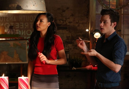 Chris Colfer as Kurt Hummel and Naya Rivera as Santana Lopez in Glee