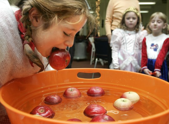A little girl bobbing for apples.