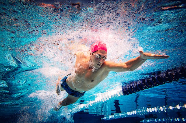 Swimmer doing freestyle in lane