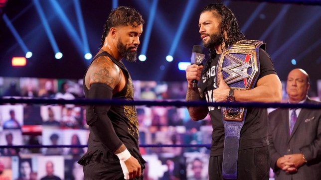 WWE superstar Jey Uso with the Universal Champion Roman Reigns