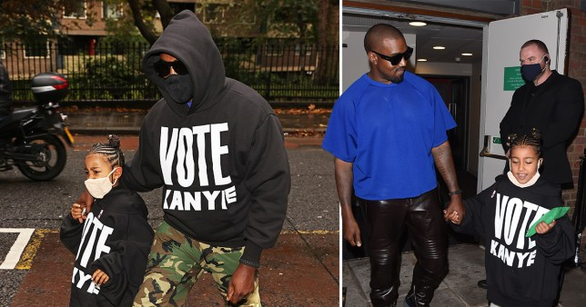 Kanye West and daughter North in London